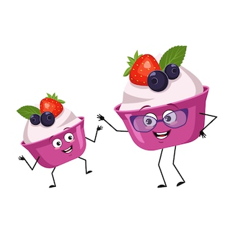 Cute cake or yogurt characters with happy emotions