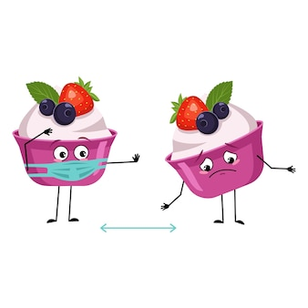 Cute cake or yogurt characters with social distance