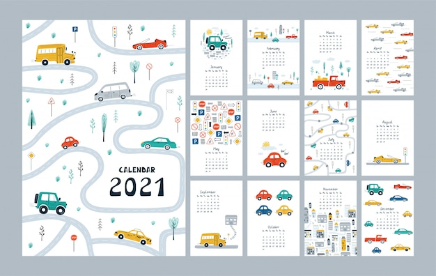 Cute calendar 2021 with cars, city, road map. childish planner template