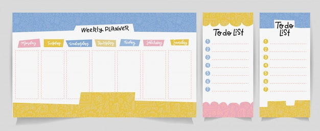 Cute calendar daily and weekly planner template. note paper, to do list set with linear school supplies illustrations