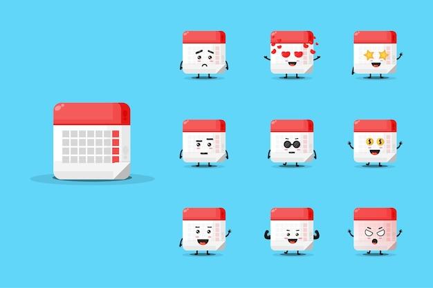 Cute calendar mascot design set