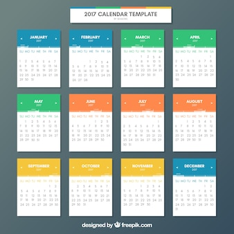 Cute calendar of colors of 2017
