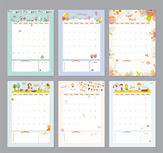 Cute calendar template for 2021. yearly planner calendar with all months. good organizer