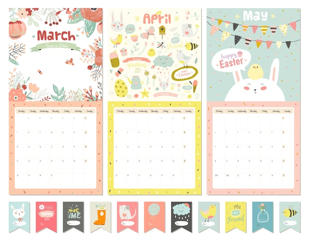 Cute calendar template. beautiful diary with vector character and funny illustrations