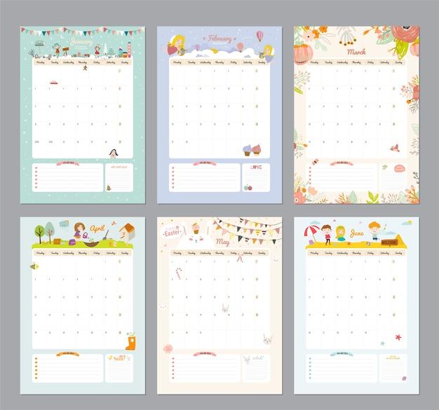 Симпатичный шаблон календаря на 2021 год. годовой календарь-планировщик со всеми месяцами. хороший организатор