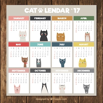 Cute calendar with different cats