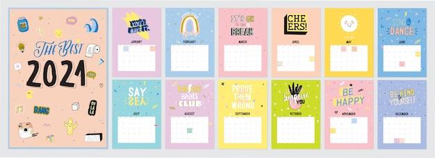 かわいいカレンダー。すべての月を含む年間プランナーカレンダー。良い主催者とスケジュール。女の子の力の要素とタイポグラフィのトレンディなイラスト。