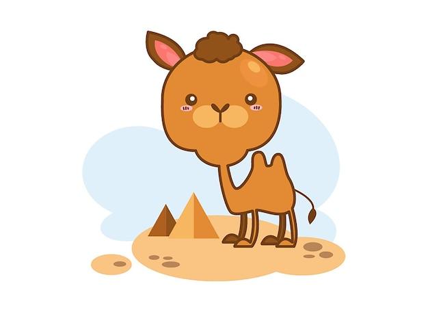 Симпатичный верблюд в пустыне на белом фоне