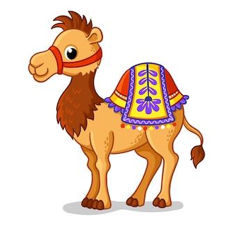 귀여운 낙타는 만화 스타일의 흰색 배경에 서 있다