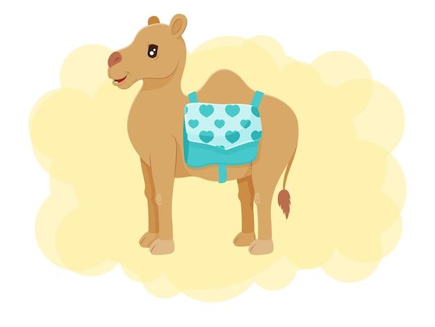 バッグ付きのかわいいラクダ。カワイイキャラクター。ベクトルの子供たちのイラスト。漫画のスタイル。