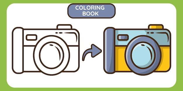 Cute camera hand drawn cartoon doodle coloring book for kids