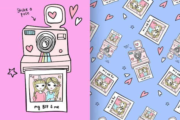Cute camera with pattern vector set