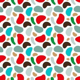 さまざまな形の斑点のあるかわいいカモフラージュパターンベクトル図
