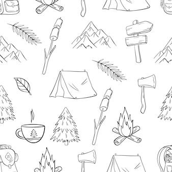 落書きや手描きスタイルのかわいいキャンプやハイキングのシームレスパターン
