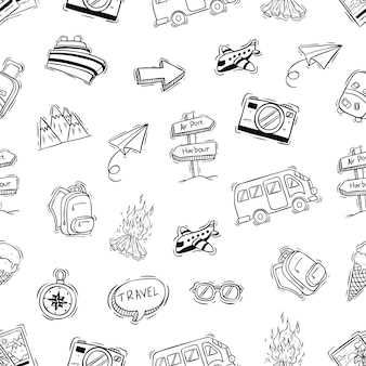 Cute camping icons in seamless pattern with doodle or hand drawn style