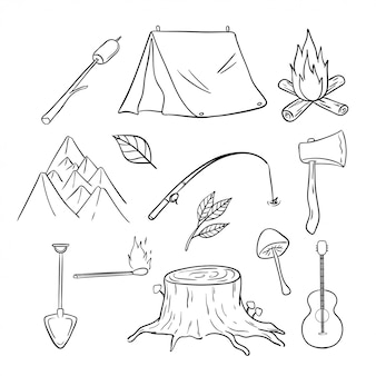 Cute camping and recreation icons or elements with hand drawn style