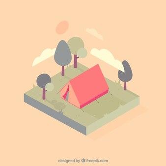 Симпатичные палатки кемпинга в пейзаж в мягких тонах