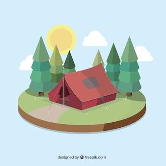 松に囲まれたかわいいキャンプのテント