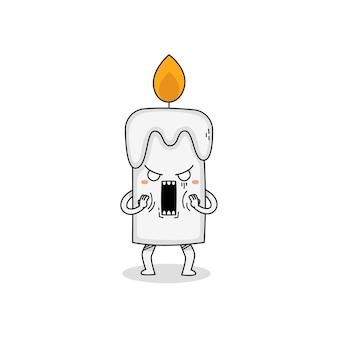 Симпатичная свеча мультипликационный персонаж в шоке