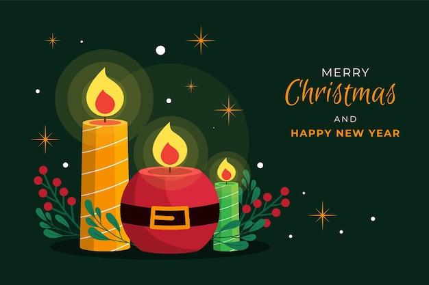 Симпатичные свечи и омела рождественский фон