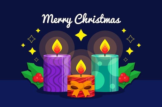 Симпатичные свечи и омела на рождество