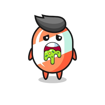 The cute candy character with puke , cute style design for t shirt, sticker, logo element