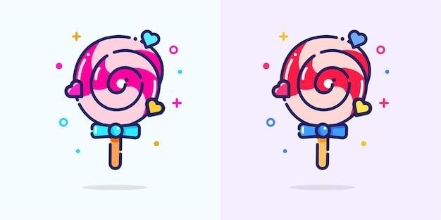 かわいいキャンディーフラット漫画アイコンイラスト