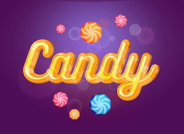 かわいいキャンディフォントと紫色の背景にお菓子