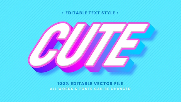 Cute candy girly 3d text style effect. editable illustrator text style.