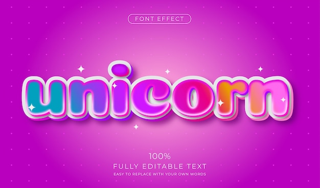 Cute candy rainbow text effect. editable font style