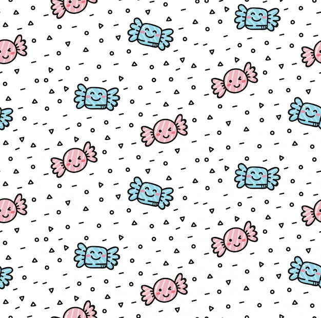Cute candy seamless background in kawaii style
