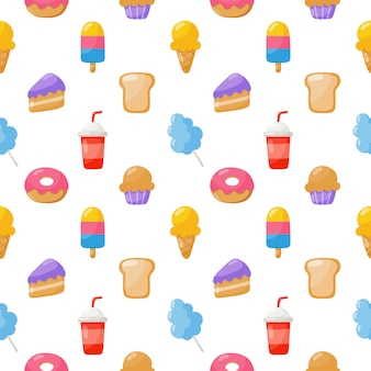 Cute candy seamless pattern. sweets desserts isolated on white  for cafe or restaurant.