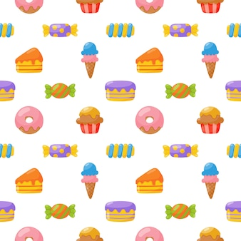 Cute candy seamless pattern. sweets desserts isolated