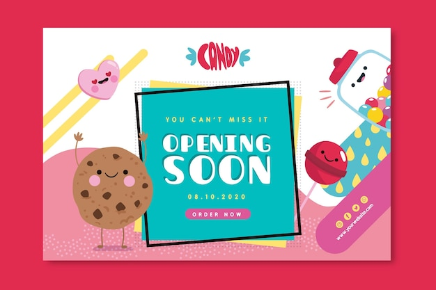 Cute candy shop banner template