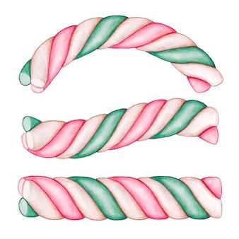 かわいいキャンディーがマシュマロを渦巻く
