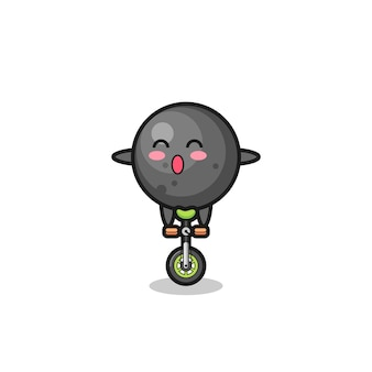 The cute cannon ball character is riding a circus bike , cute style design for t shirt, sticker, logo element