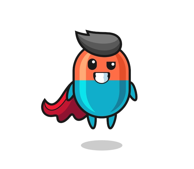 The cute capsule character as a flying superhero , cute style design for t shirt, sticker, logo element