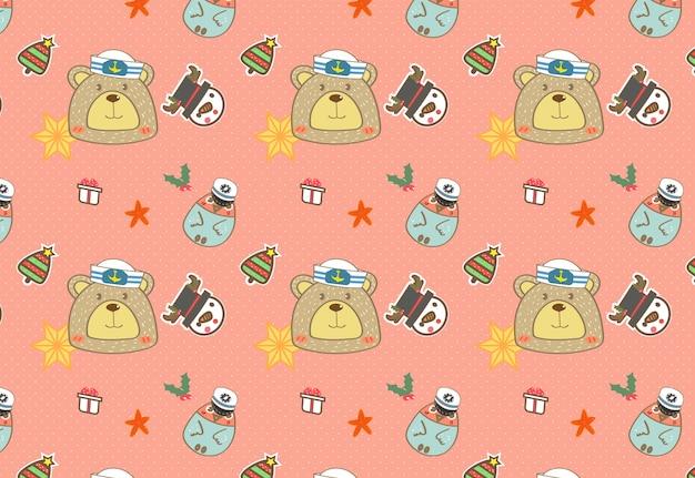 かわいいキャプテンクマと友人のシームレスなパターンベクトル。