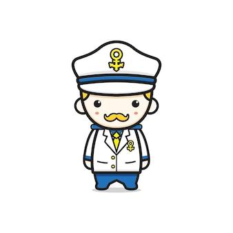 かわいいキャプテン海軍海兵隊キャラクター漫画アイコンイラスト。孤立したフラット漫画スタイルをデザインする