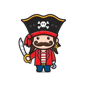 剣漫画アイコンイラストを保持しているかわいいキャプテン海賊。孤立したフラット漫画スタイルをデザインする