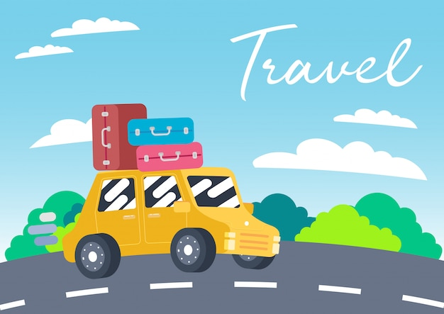 Cute car colorful travel vacation vector
