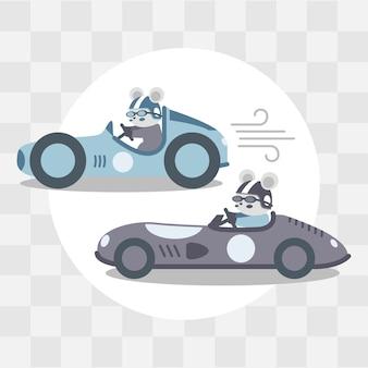 Симпатичные автомобильные гонки мультфильм каракули иллюстрации
