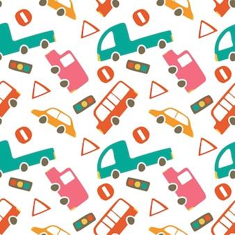 かわいい車のシームレスなパターン