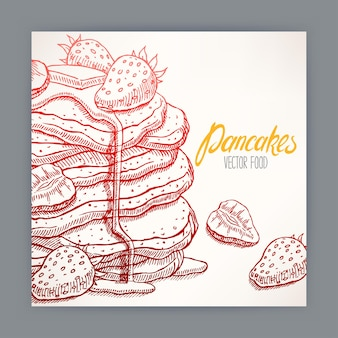 Cute card of appetizing pancakes with strawberry and syrup.