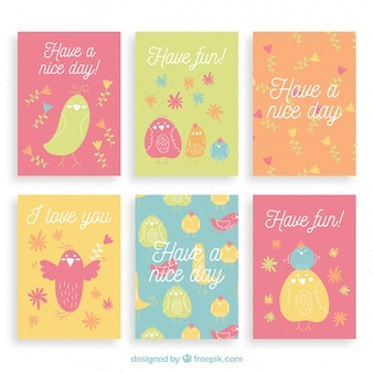 カラフルな鳥のかわいいカードコレクション