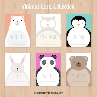 Cute card collection with happy animals