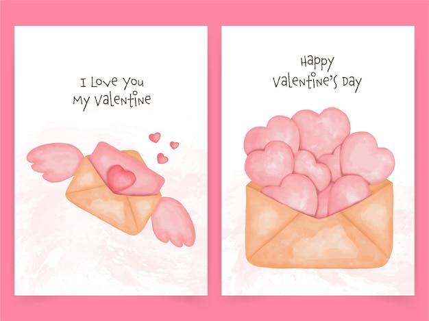 バレンタインデーのかわいいカード。水彩風のハートと封筒。
