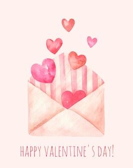 Милая открытка на день святого валентина, сердце в конверте