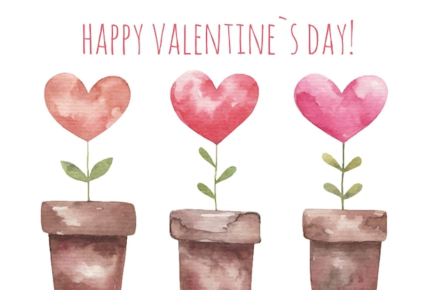 バレンタインデー、ハート型の植物、白い背景のイラストのかわいいカード