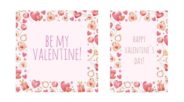 Симпатичные рамки для открыток, детская иллюстрация на день святого валентина